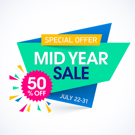 Mid Year Sale paper banner design template