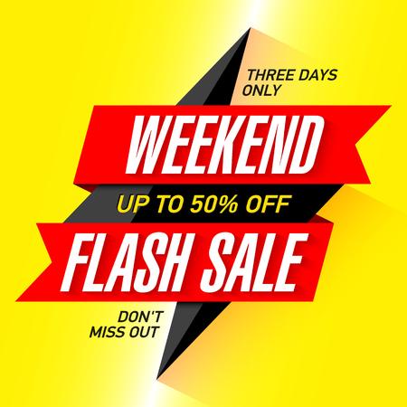 주말 플래시 판매 배너, 삼일 만 특별 제공, 50 % 오프까지 저장합니다. 일러스트
