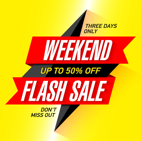 discount banner: Weekend Flash Sale banner, three days only special offer, save up to 50% off. Illustration