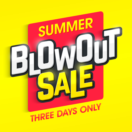 sizzling: Summer Blowout Sale banner. Special offer, three days only big sale.