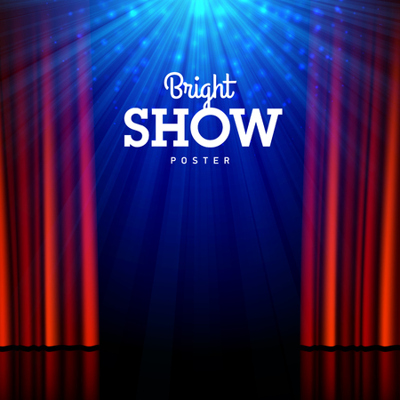 Bright show poster design template. Stage, spotlights and open curtains