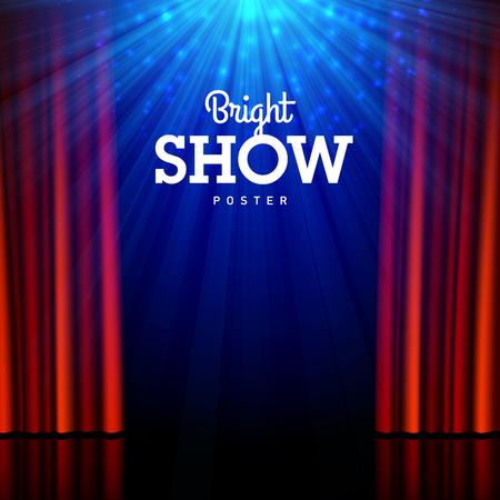Lumineux modèle de conception show affiche. Scène, projecteurs et rideaux ouverts