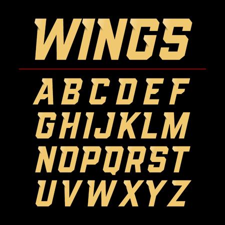 design elements: Wings font, dynamic style alphabet letters
