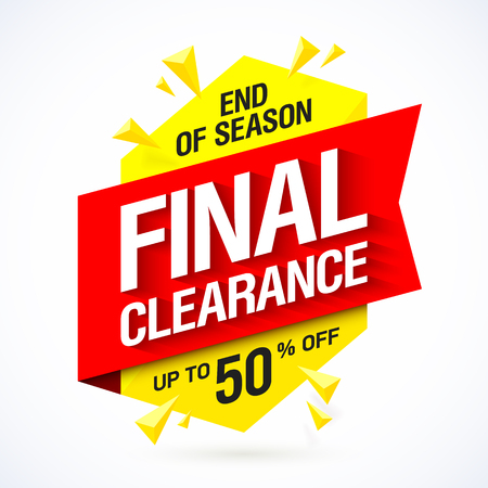 out of business: End of season final clearance sale banner design Illustration