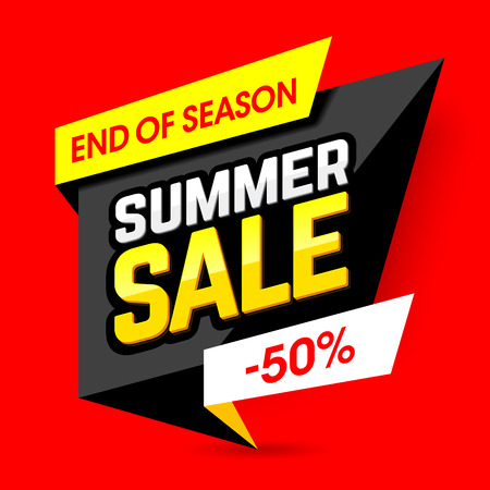 end of summer: End of season summer sale template banner