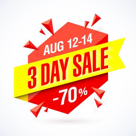 rebate: 3 Day Sale poster, banner design template