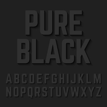 black shadow: Pure Black alphabet letters with shadow
