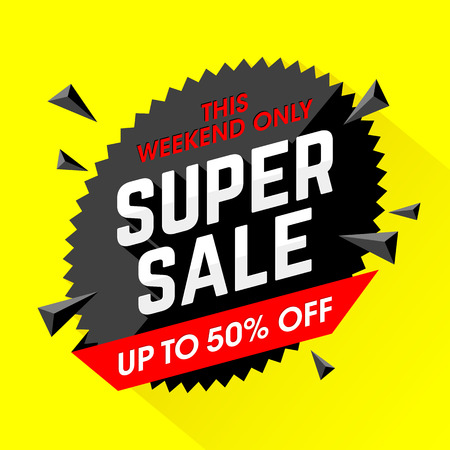 Weekend Super Sale banner. Big sale special offer, save up to 50%. Illustration