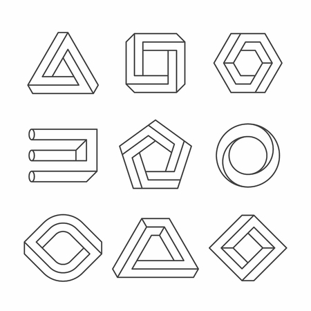 objects: shapes, optical illusion objects