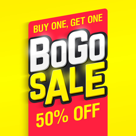 Bogo Sale, buy one, get one 50% off banner design template