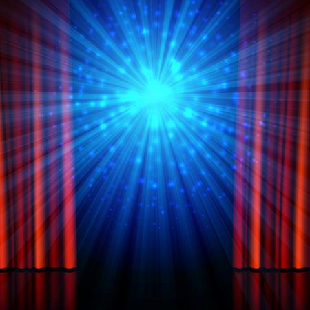 Etapa, los proyectores y las cortinas abiertas rojos. , Festival, cine, comedia stand-up teatral u otro programa de diseño de fondo del cartel
