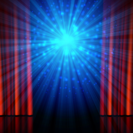 Stage, spotlights and red open curtains. Theatrical, festival, cinema, stand-up comedy or another show poster design background