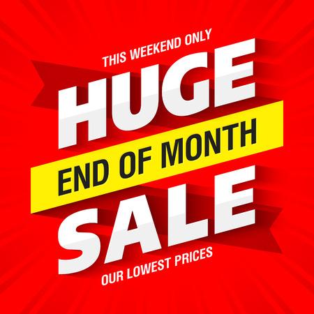 Einde van de maand Huge Sale banner Vector Illustratie