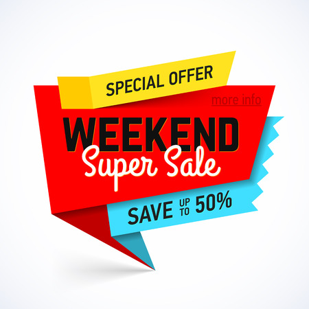 super market: Weekend Super Sale banner. Special offer, save up to 50%.