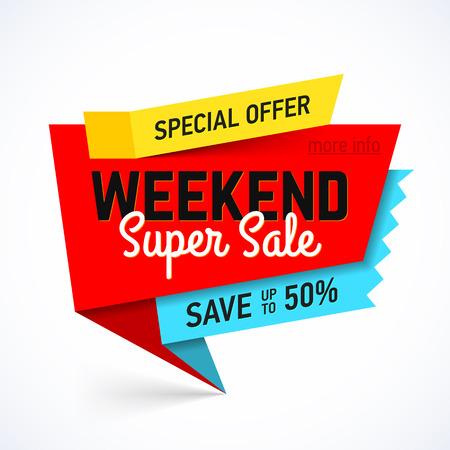 Weekend Super Sale banner. Speciale aanbieding, bespaar tot 50%.