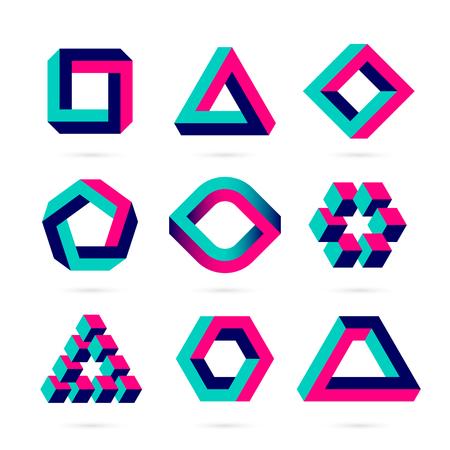 Formas, objetos ilusión óptica Foto de archivo - 61124777