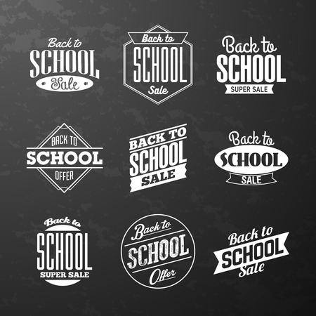 shop sign: Back to School Sale vintage style calligraphic lettering designs