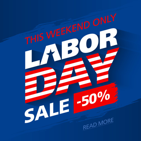 Labor Day Sale, this weekend special offer advertising banner design