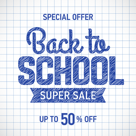 Back to school sale poster or banner template with hand drawn text elements on squared paper