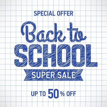 Volver a la venta cartel de la escuela o la plantilla de banner con elementos de texto dibujado a mano en papel cuadriculado Ilustración de vector