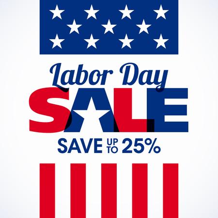 Labor Day Sale advertising banner design Vector Illustration