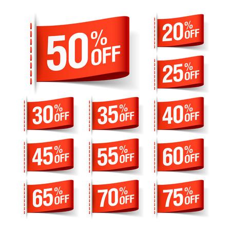 sale tag: Red discount sale labels Illustration