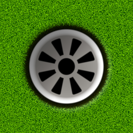 holes: Golf hole on field