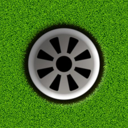 hole: Golf hole on field