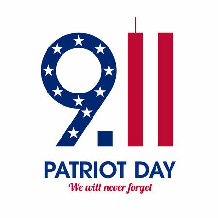 Patriot Day plakát. Nikdy nezapomeneme, 11. září. Ilustrace