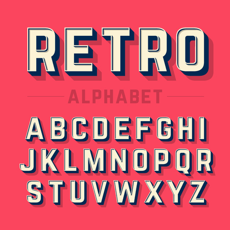 case: Retro style alphabet Illustration