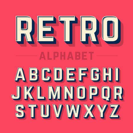 alphabetic character: Retro style alphabet Illustration