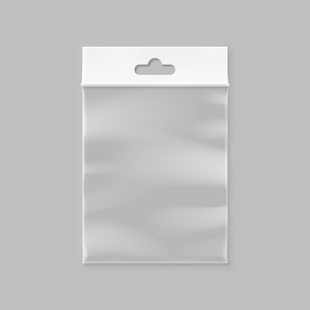 plastic wrap: Vector white pocket bag with transparent window and hang slot
