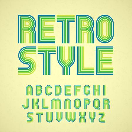 Retro style font  イラスト・ベクター素材