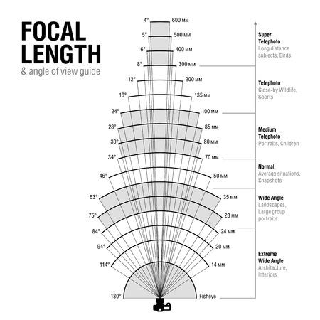 Lunghezza focale e l'angolo di guida vista Vettoriali