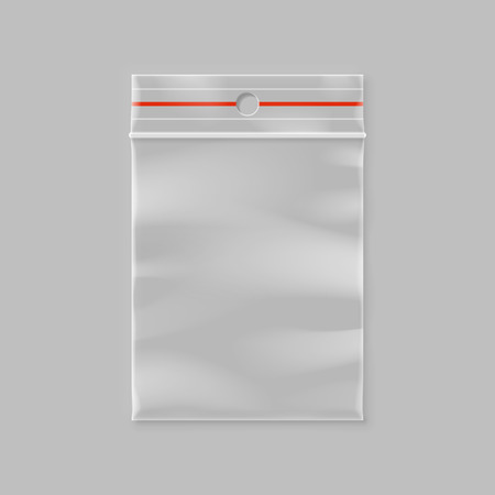 Empty transparent plastic zipper bag with hang slot