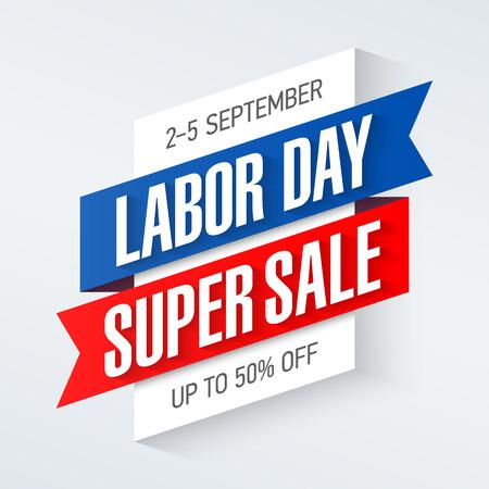 Dag van de Arbeid Super Sale speciale aanbieding poster, banner, achtergrond, grote weekend verkoop Stock Illustratie