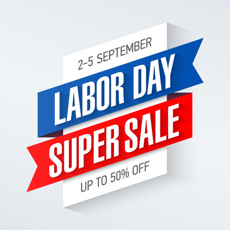 Labor Day Super Sale special offer poster, banner background, big weekend sale