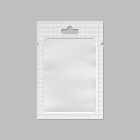 med: White pocket bag with transparent window and hang slot
