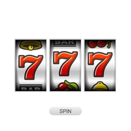 jackpot: Slot machine with lucky sevens jackpot Illustration