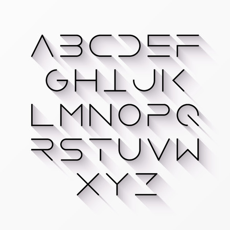 Thin line style modern font with long shadow