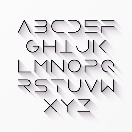 abecedario: Delgada estilo de línea moderna fuente con una larga sombra