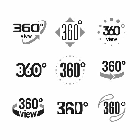 360 degrees view sign, icons set Vectores