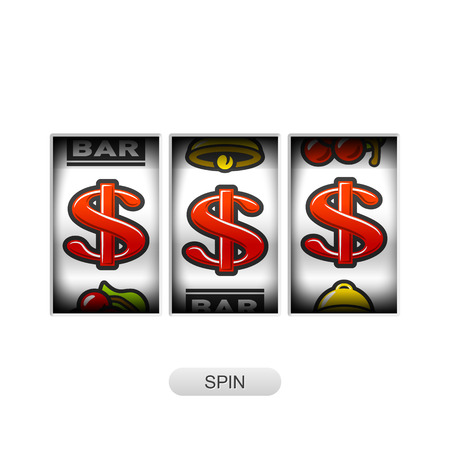 Slot machine with dollars jackpot Illustration