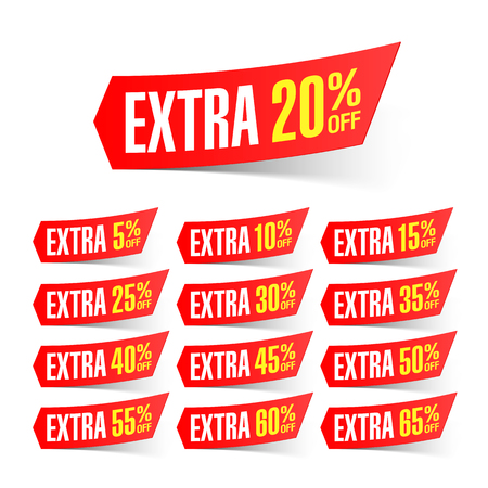 extra money: Extra sale discount labels Illustration