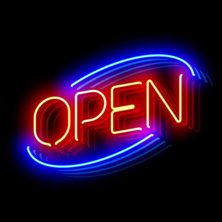 reverberation: Open neon sign Illustration