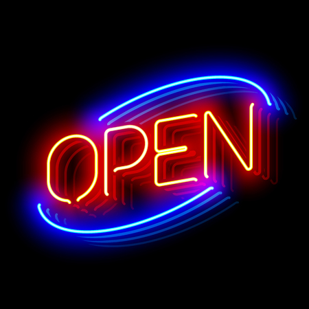 Open neon sign Illustration