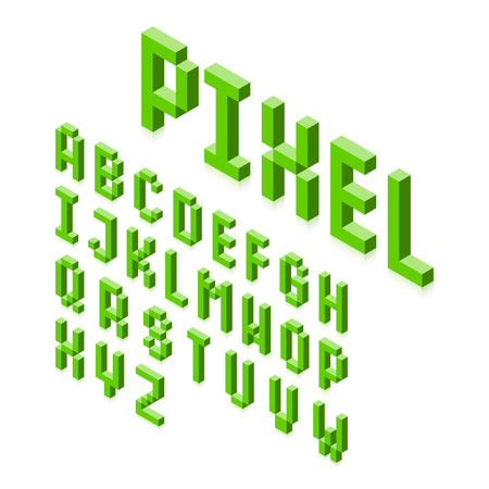 Isometric 3d pixel font, three-dimensional alphabet letters