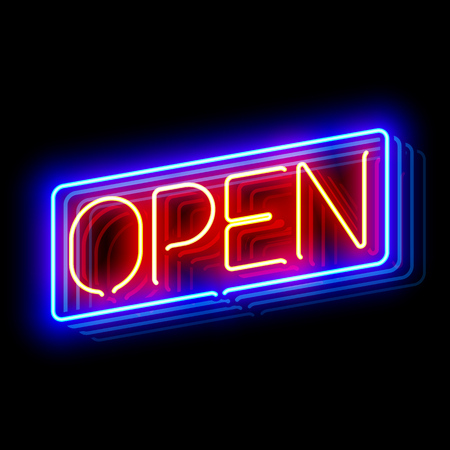light reflex: Open neon sign with reflection