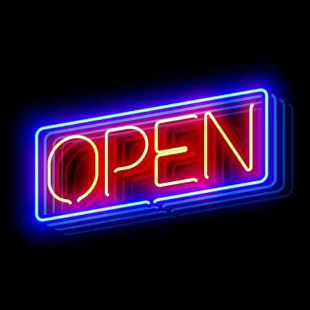 Ouvrir enseigne au néon avec la réflexion