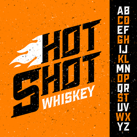 old english: Hot Shot Whiskey vintage font with sample label design. Ideal for any design in vintage style.